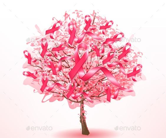 Breast cancer awareness ribbons on a sakura tree. Vector.
