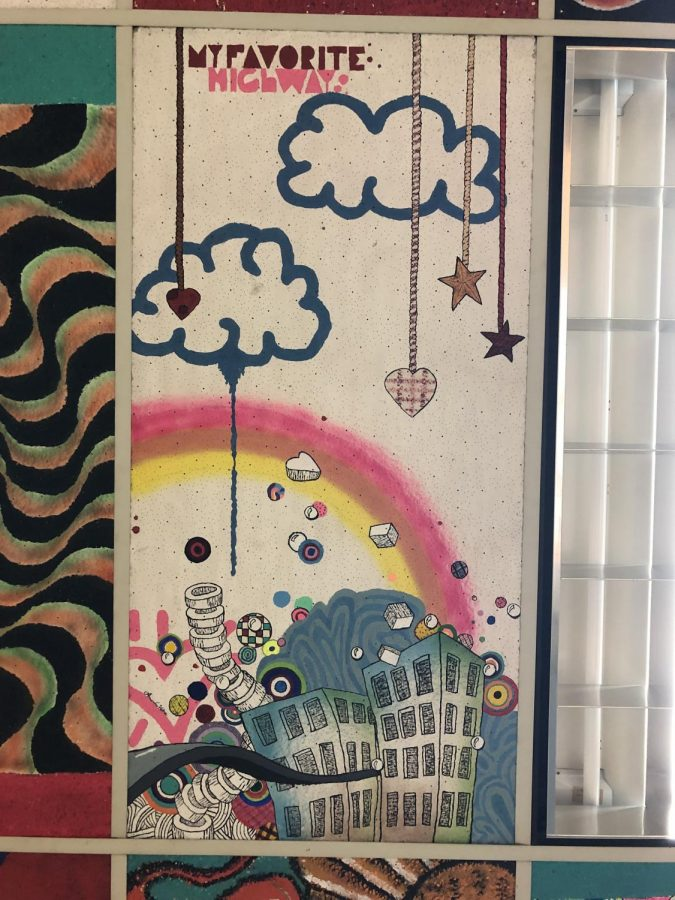Ceiling tile made by a student in Mr. Leskos room.