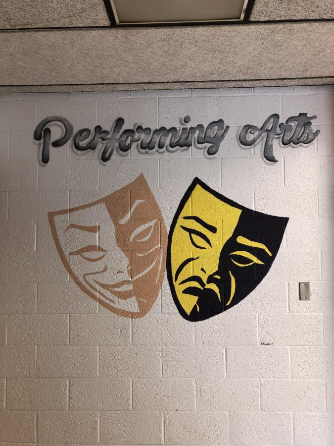 The performing art work by the auditorium.