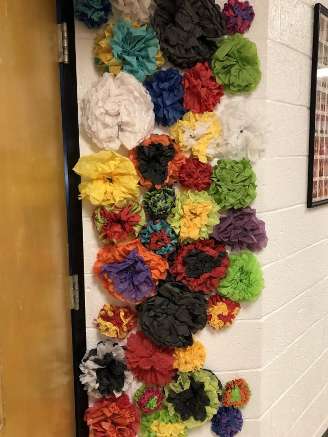 The beautiful art work by the Spanish room made by Mrs McCory students.