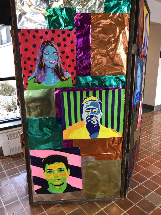 Art work in the front lobby future Emily Gipe, Mr Leskos, and Ayden pratt.