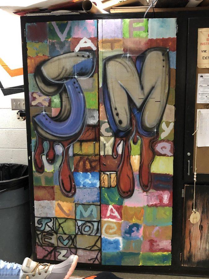 Art Work on Mr Leskos cabinet door.