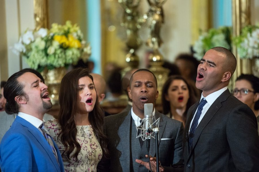 Cast members perform musical selections from the Broadway musical Hamilton in the East Room of the White House, March 14, 2016. (Official White House Photo by Amanda Lucidon)