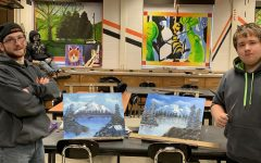 Art 2 Students Complete Bob Ross Paintings
