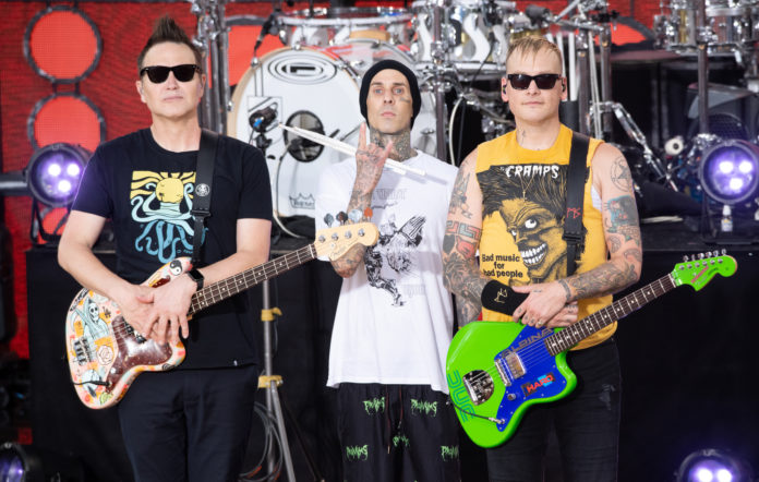 NEW YORK, NEW YORK - JULY 19: (L-R) Mark Hoppus, Travis Barker and Matt Skiba of Blink-182 attend ABC's